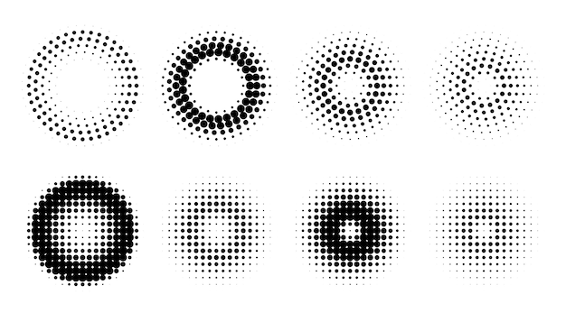 Circle retro halftone pattern background set Free Vector