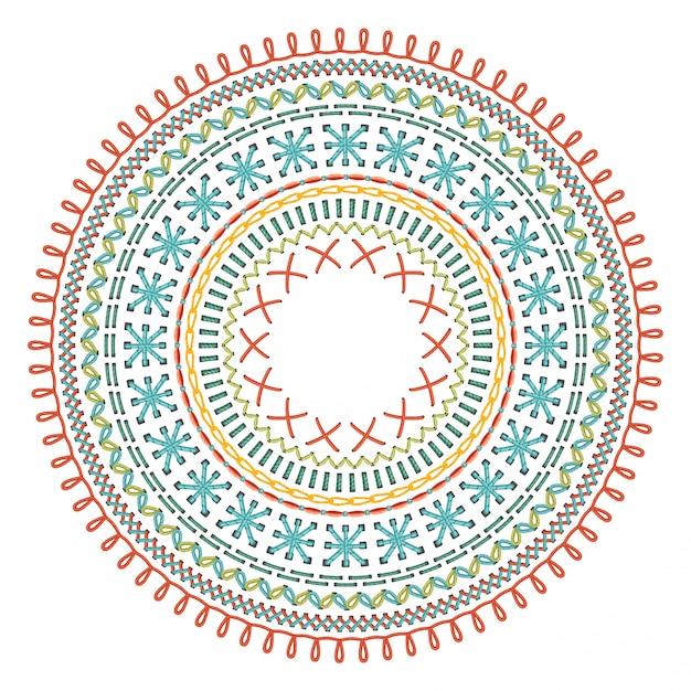 Circle sewing pattern. Premium Vector
