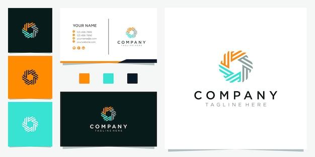 Дизайн логотипа в форме круга. буква e логотип вдохновение Premium векторы