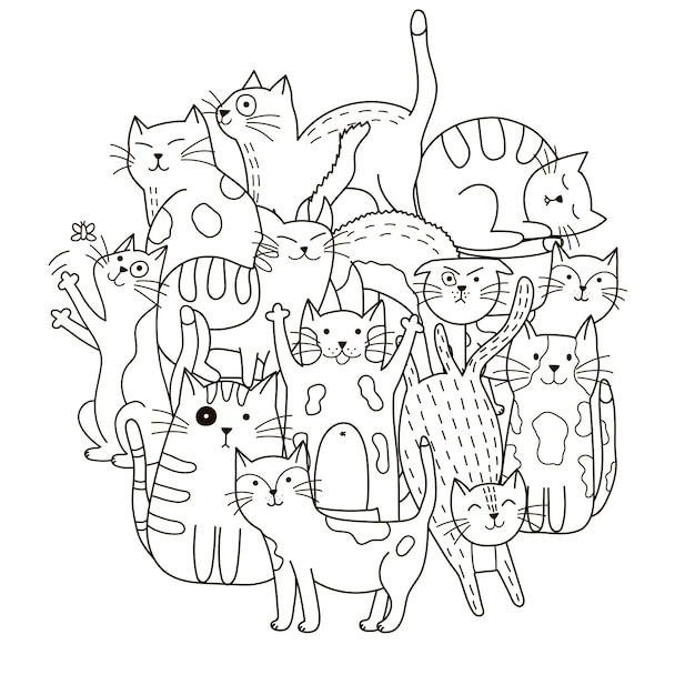 Circle Shape Pattern With Cute Cats For Coloring Book Premium Vector