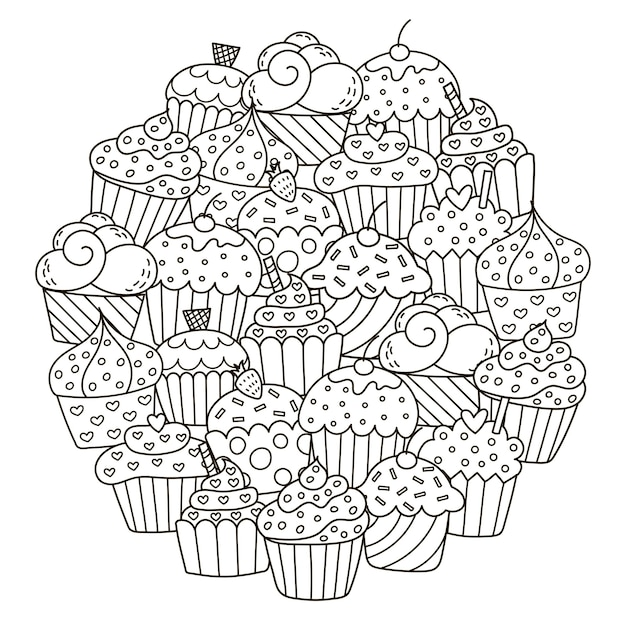 Circle shape pattern with cute cupcakes Premium Vector