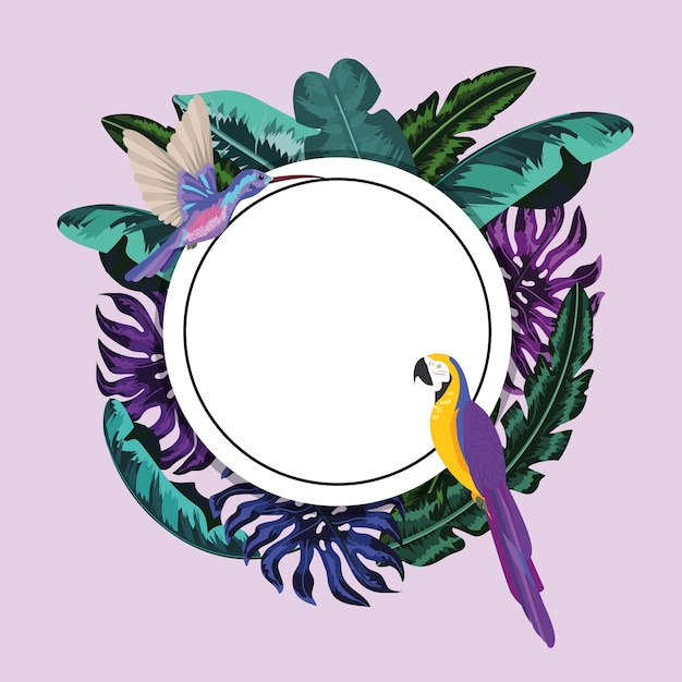 Circle sticker with parrot and tropical leaves Premium Vector