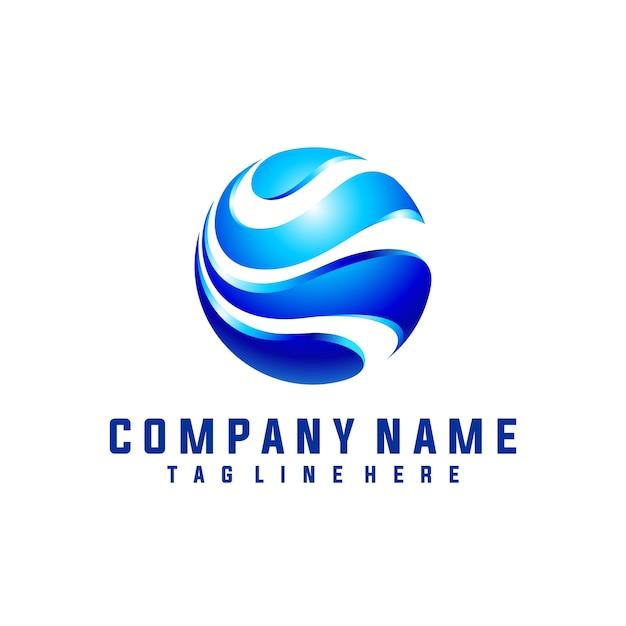 Circle wave logo design 3d look Premium Vector
