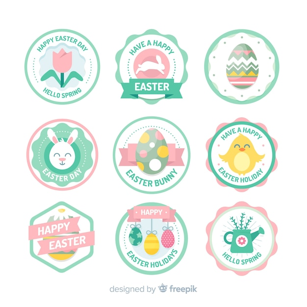 Circled easter day label collection Free Vector