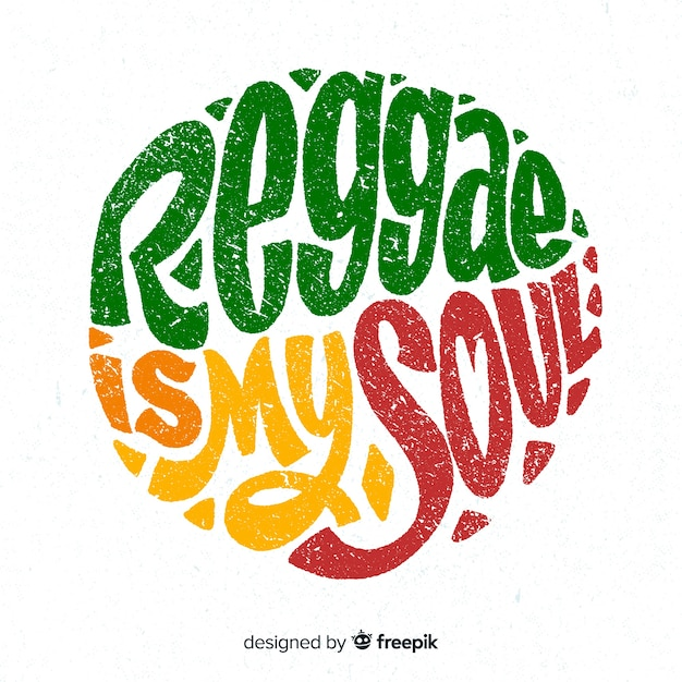 Circled text reggae background Free Vector