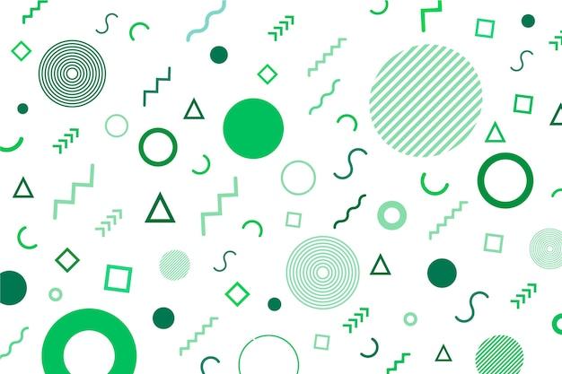 円と緑の色調メンフィス背景の線 Premiumベクター