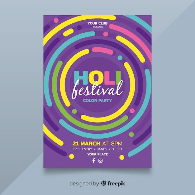 Circles holi festival party poster Free Vector