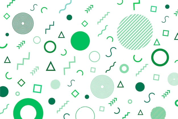 Circles and lines in green tones memphis background Free Vector