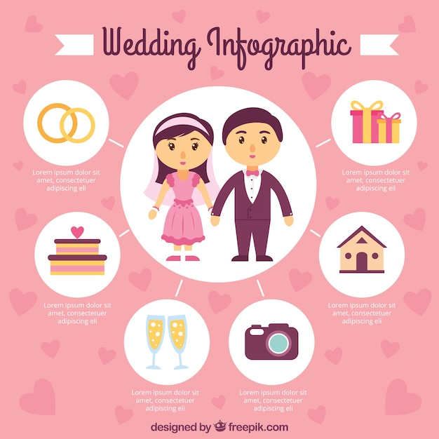 Circles wedding infography Free Vector