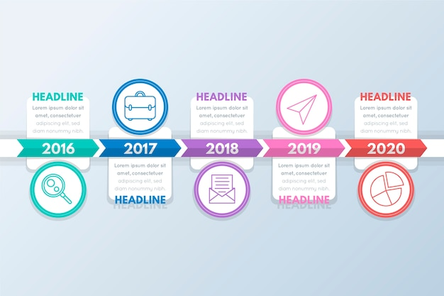 Circles with pictures and text boxes timeline infographic Free Vector