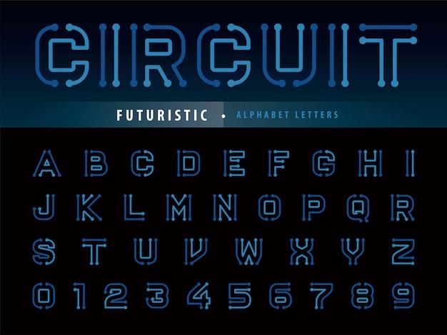 Circuit alphabet letters Premium Vector