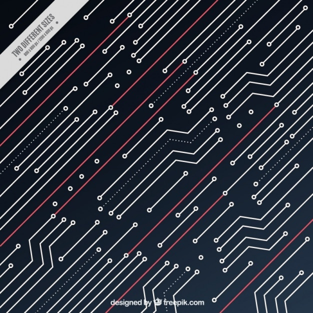 Circuit background with several red lines Vector | Free Download