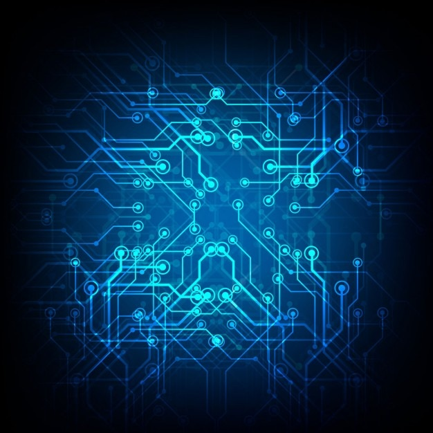 circuit blue background with lines and dots free vector