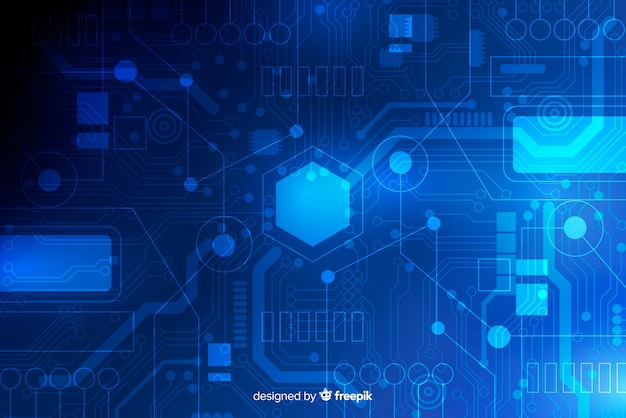 Circuit board background flat style Free Vector