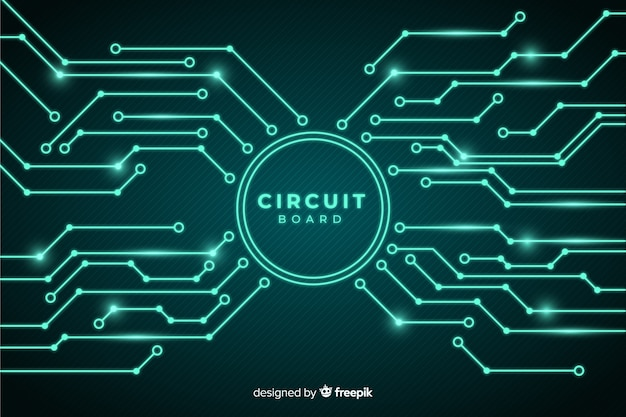Circuit board background realistic style Free Vector