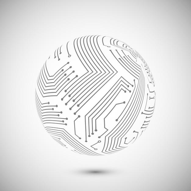 Circuit board  globe symbol Free Vector