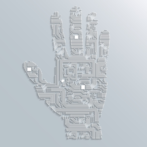Circuit board hand Free Vector