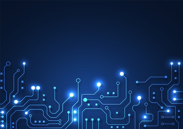 Circuit Board Technology Background With Hi Tech Digital Data Connection System And Computer Electronic Premium Vector