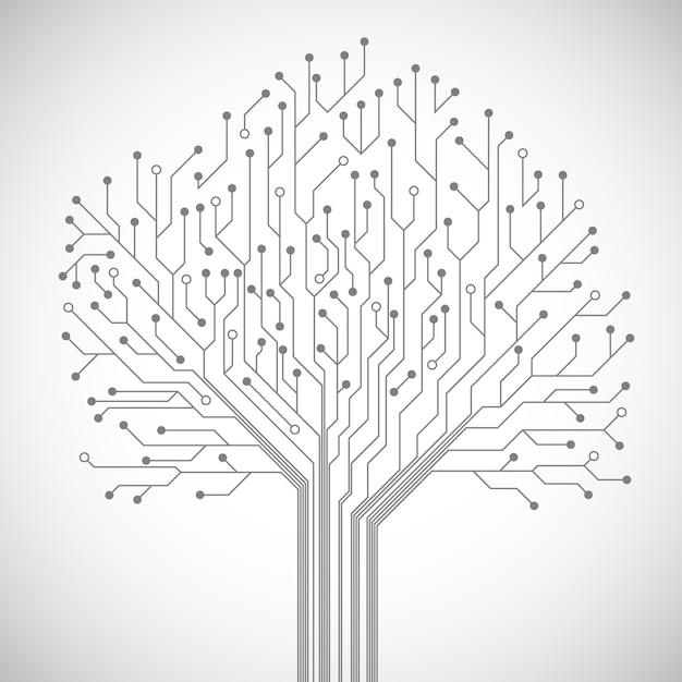 Circuit board tree symbol Free Vector
