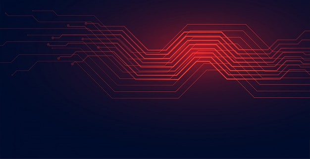 Circuit lines technology diagram background in red shade Free Vector