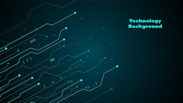 Фон технологии схем с высокотехнологичной системой цифровой передачи данных и компьютерным электронным дизайном Premium векторы