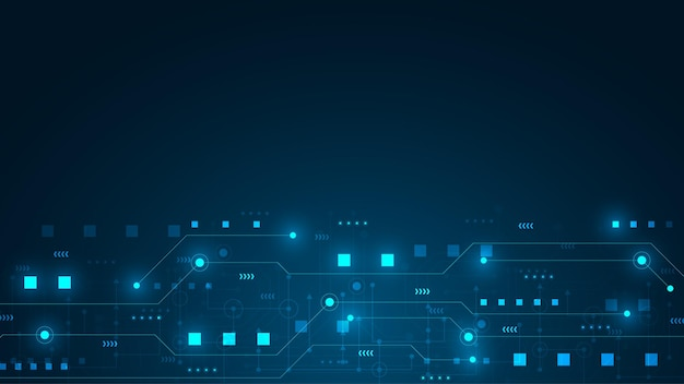 ハイテクデジタルデータ接続システムとコンピューター電子設計による回路技術の背景 Premiumベクター