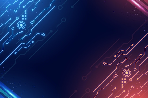 회로 파란색과 빨간색 그라데이션 디지털 배경 무료 벡터