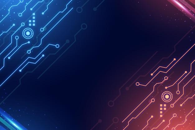 Circuiti sfondo digitale sfumato blu e rosso Vettore gratuito