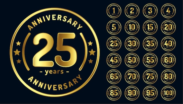 Circular anniversary emblems or labels in golden color Free Vector