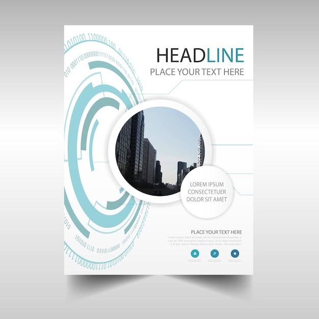 Circular annual report book cover template Free Vector