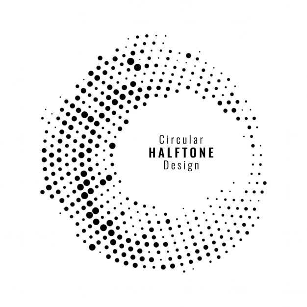 Line Art Vs Halftone : Circular background halftone dots vector free download