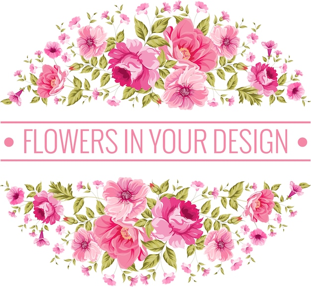 Circular background with pink flowers Premium Vector