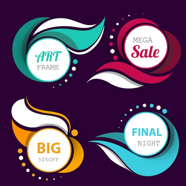 Circular banners with wavy detailed Free Vector