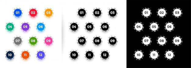 Круглые маркеры с номерами от одного до двенадцати Бесплатные векторы
