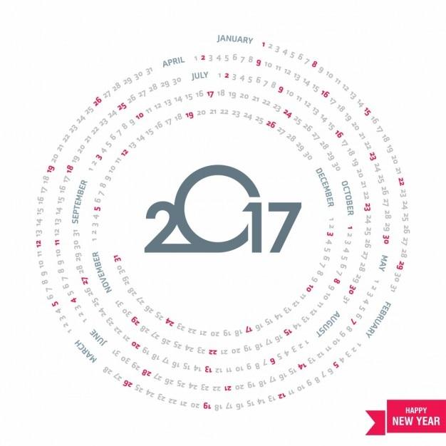 Circular calendar for 2017 Vector   Free Download
