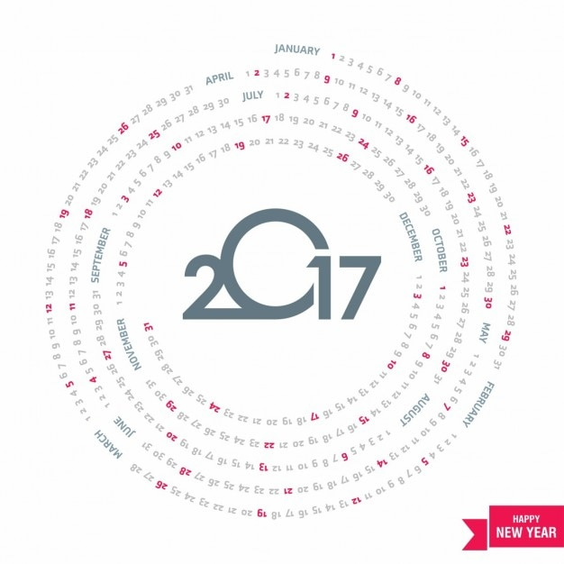 Circular calendar for 2017 Vector | Free Download