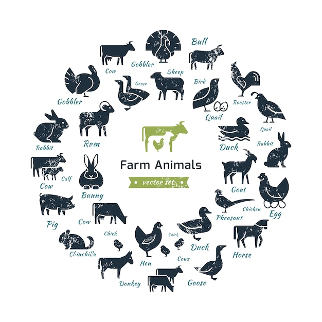 Circular composition of farm animals silhouettes. Premium Vector