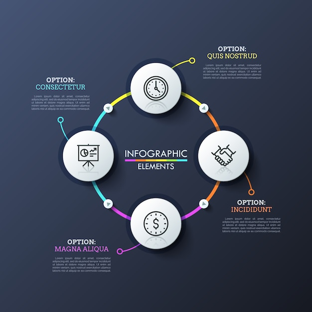 Circular diagram with 4 round white elements connected by colorful lines and play buttons. modern infographic design layout. Premium Vector