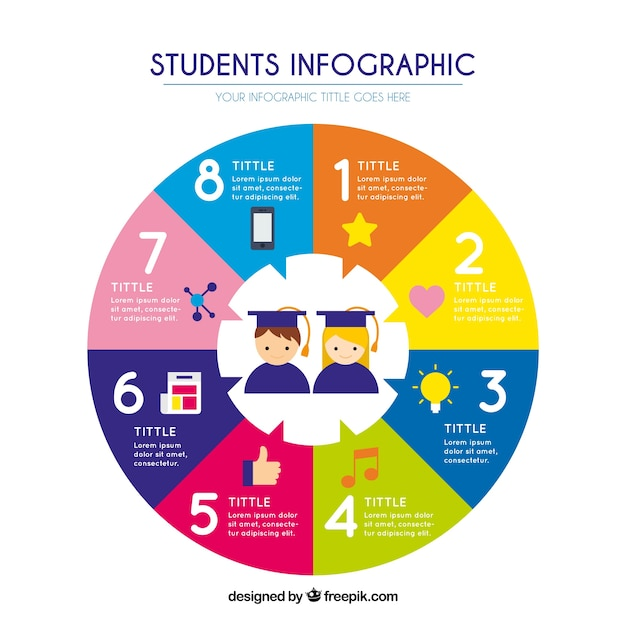 Circular flat infographic about students Vector | Free ...