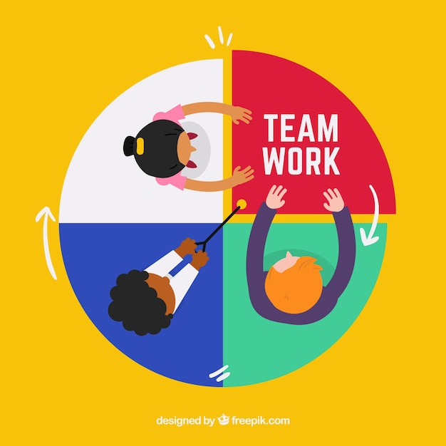 Circular flat teamwork background