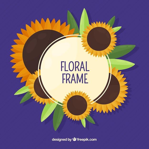 Круглая цветочная рамка с плоским дизайном Premium векторы