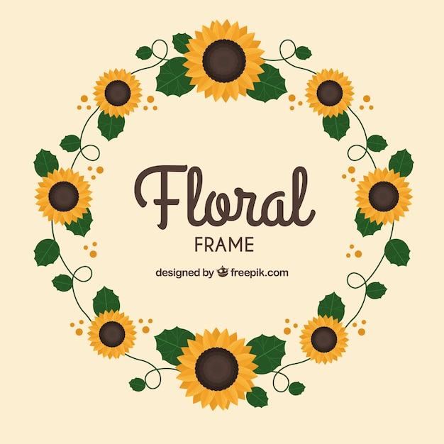 Circular floral frame with flat design Free Vector