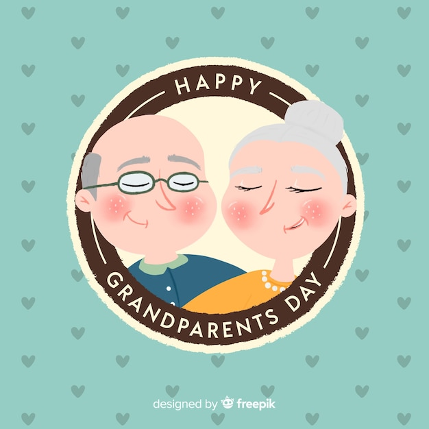 Circular grandparents day background Free Vector