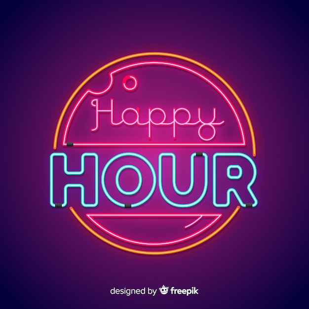 Circular happy hour neon sign Vector | Free Download