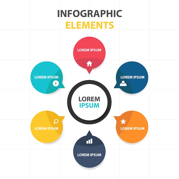 circular infographic business template vector free download