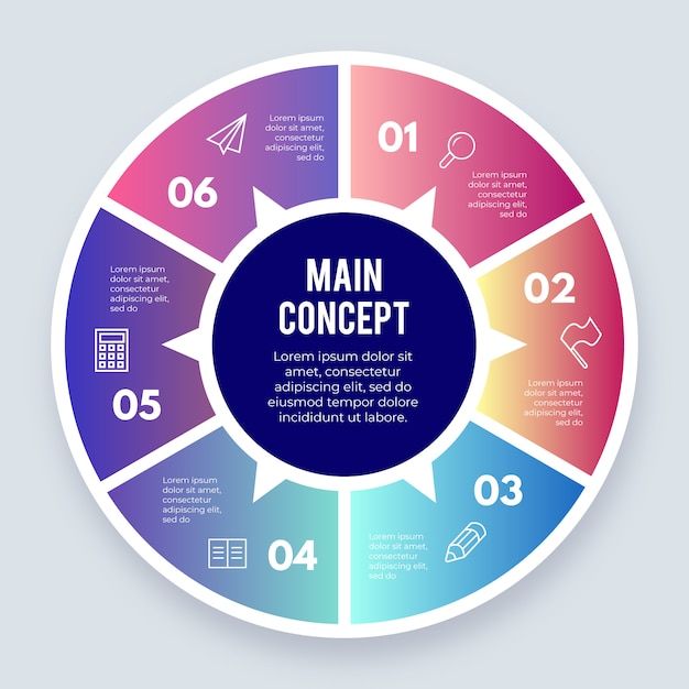 Circular infographic element with options Free Vector