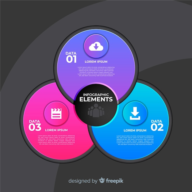 Circular infographic template in gradient style Free Vector