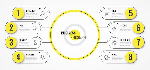 Circular infographic thin line design template with arrows and 8 options or steps. Premium Vector
