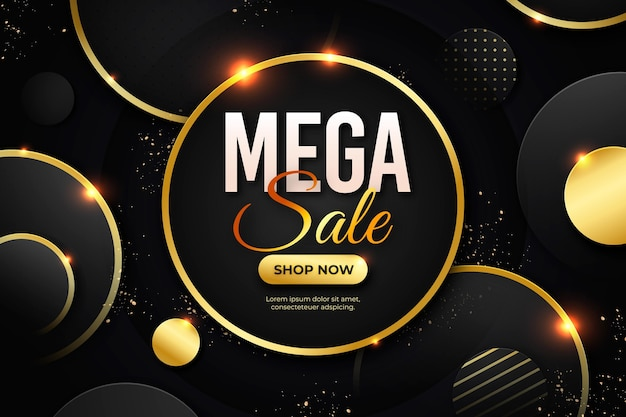 Circular luxury gold sale background Free Vector