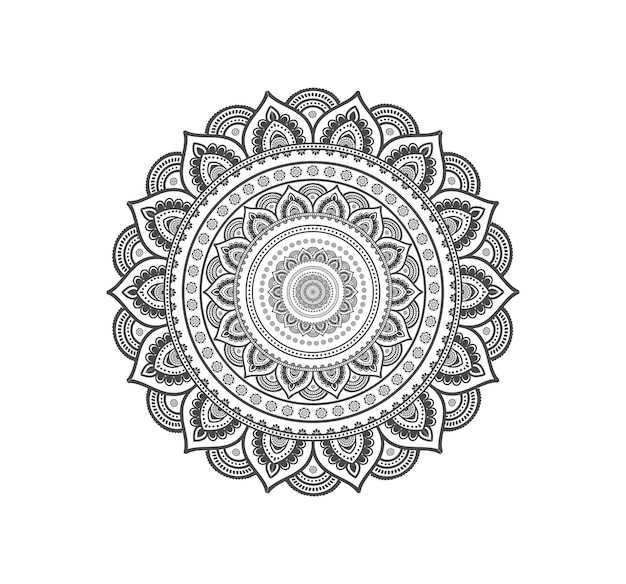 Circular mandala isolated for henna or tattoo Premium Vector
